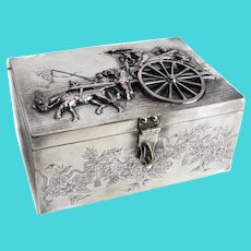 Dutch or German Silverplate Box, High Relief Figural Scene, 19th Century