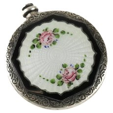 American Sterling Silver & Guilloche Enamel Miniature Perfume Bottle, 19th C.