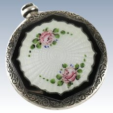 American Sterling Silver & Guilloche Enamel Miniature Perfume Bottle, 19th C.