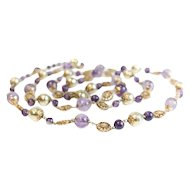 "14k Yellow Gold and Amethyst Stone Single Strand Necklace // 32"" length"