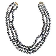 14k Yellow Gold Natural 8.8mm Black Seed Pearl 3 Strand Necklace