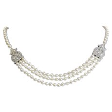"""14k White Gold & Diamond 5.7mm Cultured Pearl 3 Strand Necklace / 17"""" length"""