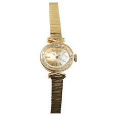 "Omega 14k Gold Women's Wrist Watch, Bark Textured Band / 7.5"" length"