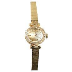 """Omega 14k Gold Women's Wrist Watch, Bark Textured Band / 7.5"""" length"""