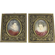 Pair Continental Miniature Porcelain Female Portraits Brass Enamel Frames circa 1920