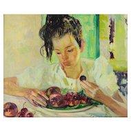 Luigi Corbellini (Italian 1901-1968) Oil on Canvas Painting of a Woman with Fruit