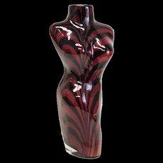 Italian Art Glass Female Torso Vase, Mid Century. Maroon & Black Stripes