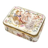 Meissen Porcelain & Guilt Silver Snuff Box, circa 1850