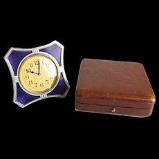 J. E. Caldwell French 950 Silver and Guilloche Enamel Desk Clock. circa 1920
