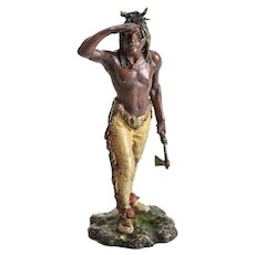 Franz Bergmann Nam Greb Polychrome Bronze Indian Hunter, circa 1900 Signed