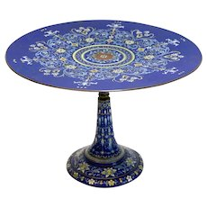French Champleve Enamel Tazza Cake Stand, circa 1900, Floral Designs