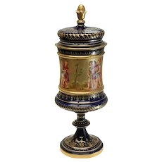 Royal Vienna Hand Painted Porcelain Urn, circa 1900. Figural Children