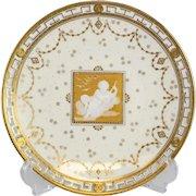 Minton Pate Sur Pate Reticulated Cabinet Plate, Alboine Birks (Albion), circa 1880