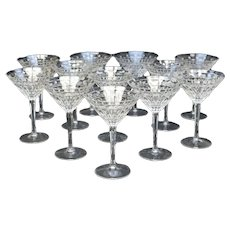 12 Varga Contemporary Cut Glass Clear Martini Goblets in Barcelona