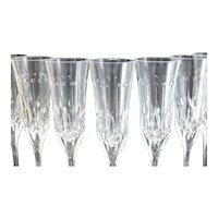 12 Varga Contemporary Cut Glass Clear Fluted Champagne Goblets in Renaissance