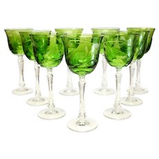 9 Varga Contemporary Cut Glass Yellow-Green Water Goblets in Rain Forest