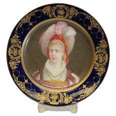 Sevres Hand Painted Porcelain Cabinet Plate, 19th Century. Beauty