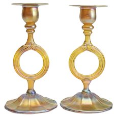 Pair L.C.T Tiffany Favrile Gold Iridescent Wedding Ring Candlesticks, circa 1900