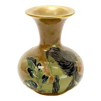 Amphora RSTK Enamel Pottery Vase Portrait of A Beauty Art Nouveau, circa 1900