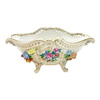 Dresden Porcelain Hand Painted Footed Bowl, Applied Flowers, circa 1950.