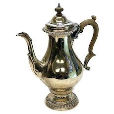 Cohen & Charles London Sterling Silver Georgian Style Tea Coffee Pot, 1960