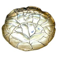 Tiffany & Co. Makers Modernist Gold Wash Sterling Silver Round Leaf Dish #35335