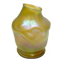 Unique LCT Louis Comfort Tiffany Favrile Gold Iridescent Textured Vase, circa 1900