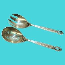 Pair Georg Jensen Sterling Silver Serving Casserole Spoon & Fork in Acorn