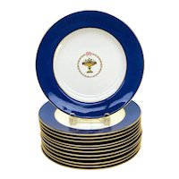 12 Copeland Spode England Porcelain Cobalt Blue Gilt Dinner Plates circa 1900