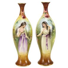 Pair Royal Bonn Porcelain Hand Painted Portait Vases of Maidens by Franz Mehlem, Late 19th Century