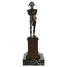 French Bronze Sculpture of Napoleon Bonaparte as General on Marble Base, 19th Century