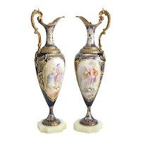Pair Sevres France Porcelain Ewers w/ Bronze Mounts Cobalt Blue Signed