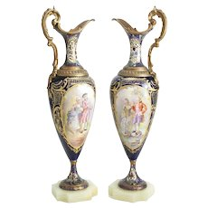 Pair Sevres France Porcelain Ewers w/ Bronze Mounts Cobalt Blue Signed