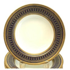 12 Cauldon England Porcelain for Tiffany & Co. Rimmed Soup Bowls, circa 1900