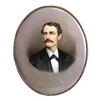 KPM Portrait Porcelain Plaque of a Gentleman, Signed B.L. Steurin, Late 19th Century