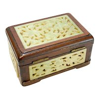 Chinese Wood and Jade Mounted Box, 20th Century. FIgural Birds