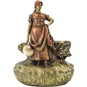 Imperial Amphora Turn Teplitz Austrian Hand Painted Porcelain Figural Vase, circa 1900