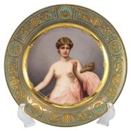 Royal Vienna Style Porcelain Hand Painted Cabinet Plate Nude Beauty, Klotho