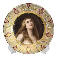 Royal Vienna Style Hand Painted Cabinet Plate of a Beauty Busende Magdalena, circa 1900. Signed Wagner