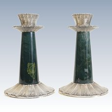 Stunning Pair Buccellati Sterling Silver Rouche Green Stone Candlesticks