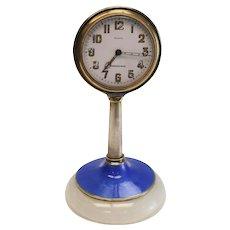 Tiffany & Co. Sterling Silver Guilloche Enamel on White Onyx Desk Clock, c.1930