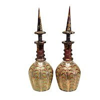 Pair Large Bohemian Cranberry Glass & Enamel Hand Cut Persian Decanters, c1920