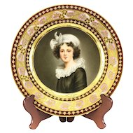 Dresden Hand Painted Porcelain Cabinet Plate of Madame Le Brun, circa 1920