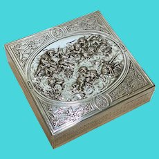 French Silver Repousse Vanity or Cigar Box. Cherubs Playing Instruments, circa 1900