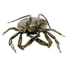 Fratelli Lisi Italian 925 Sterling SIlver Crab Miniature Figurine, Signed.