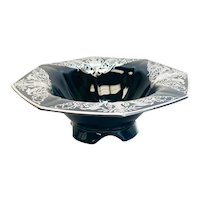 Sterling Silver Overlay Black Amethyst Footed Centerpiece Bowl
