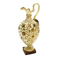 Royal Crown Derby Porcelain Gold Encrusted Footed Ewer, circa 1880