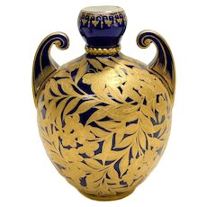 Royal Crown Derby Porcelain Cobalt Blue & Gold Encrusted Twin Handled Urn, circa 1880