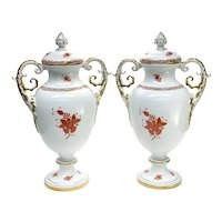 Pair Herend Hungary Porcelain Twin Handled Urns in Chinese Bouquet Rust Red