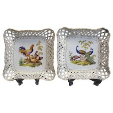 Stunning Pair of Meissen Hand Painted Porcelain Reticulated Square Trays, c1830